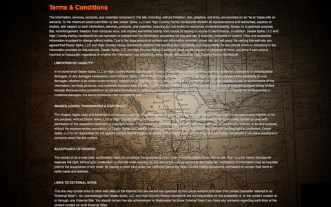Screenshot of Terms Page highcountryharley.com - Terms | High Country Harley-Davidson® | Frederick Colorado - captured Oct. 3, 2014