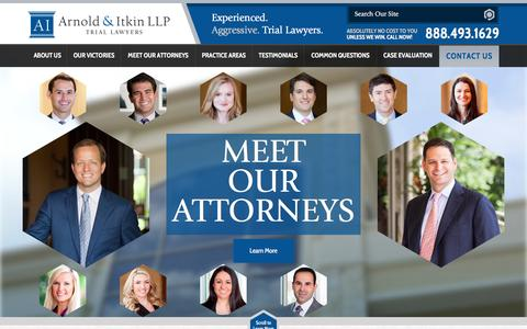 Screenshot of Home Page arnolditkin.com - Houston Personal Injury Lawyer | Arnold & Itkin LLP - captured Feb. 6, 2016