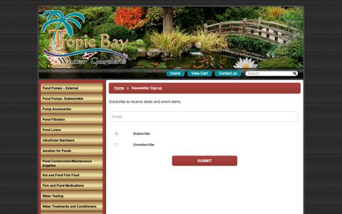 Screenshot of Signup Page tropicbaywatergardens.com - Newsletter Signup – Tropic Bay Water Gardens - captured Oct. 20, 2018