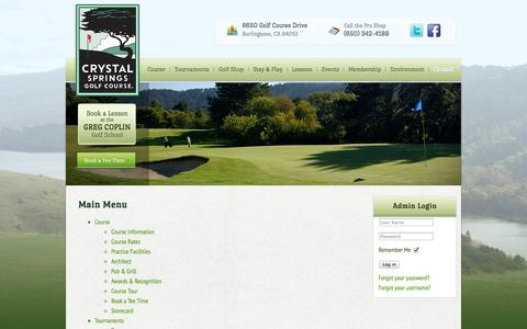 Screenshot of Site Map Page playcrystalsprings.com - Main Menu - captured Oct. 3, 2014