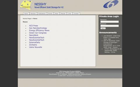 Screenshot of Press Page nesshy.net - NESSHY » News - captured June 9, 2016