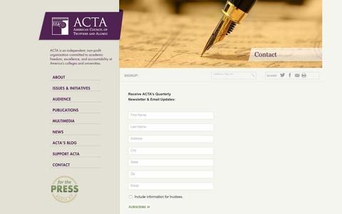Screenshot of Signup Page goacta.org - ACTA - captured Nov. 20, 2016