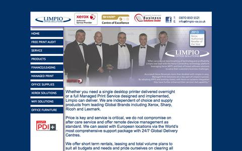 Screenshot of Home Page limpio-os.co.uk - Photocopiers   Printers   Service   Limpio Office Solutions - captured Oct. 8, 2014