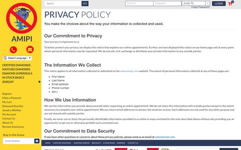 Screenshot of Privacy Page amipi.com - Privacy Policy - captured Oct. 7, 2017