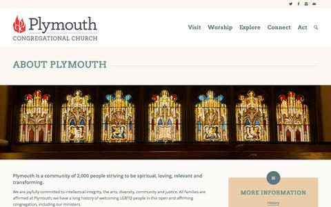 Screenshot of About Page plymouth.org - Plymouth Congregational Church |   About - captured Nov. 8, 2016