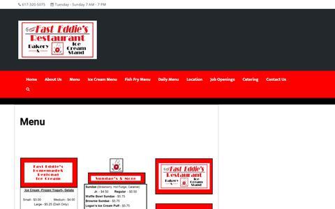 Screenshot of Menu Page fasteddiesbakery.com - Menu – Fast Eddie's Restaurant - captured Dec. 19, 2018