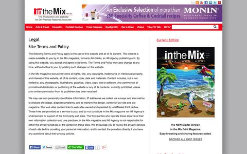 Screenshot of Terms Page on-premise.com - Legal - in the Mix Magazine - captured Oct. 9, 2014
