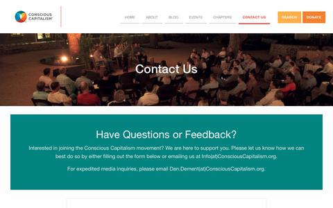 Screenshot of Contact Page consciouscapitalism.org - Contact Us – Conscious Capitalism - captured June 30, 2017
