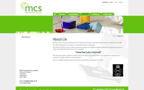 Screenshot of About Page mcs.uk.net - About Us - MCS Laboratories Limited - captured Oct. 4, 2014