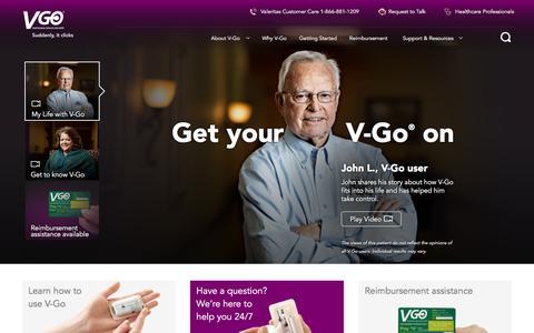 Screenshot of Home Page go-vgo.com - The V-Go Insulin Delivery Device - captured March 2, 2016