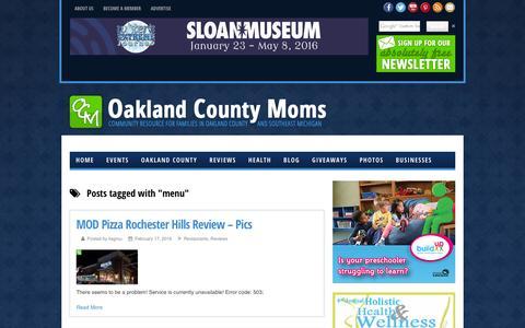 Screenshot of Menu Page oaklandcountymoms.com - menu - Oakland County Moms - captured Feb. 22, 2016