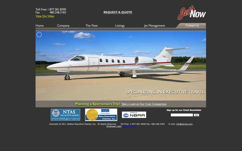 Screenshot of Home Page jetnow.com - Scottsdale Arizona Aircraft Charter and Management - captured Oct. 6, 2014