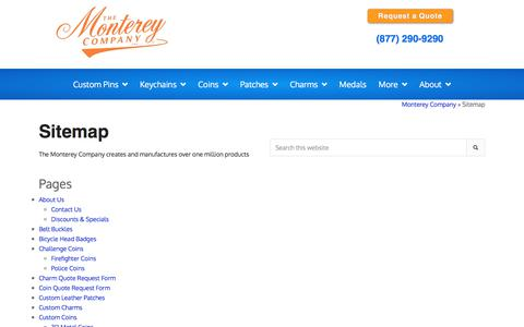 Screenshot of Site Map Page montereycompany.com - Monterey Company Products - Sitemap - captured Dec. 7, 2019