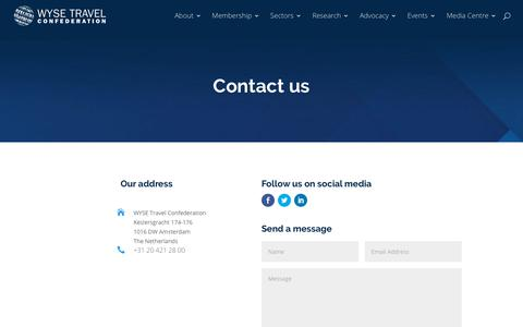 Screenshot of Contact Page wysetc.org - Contact us - WYSE Travel Confederation - captured Dec. 17, 2017