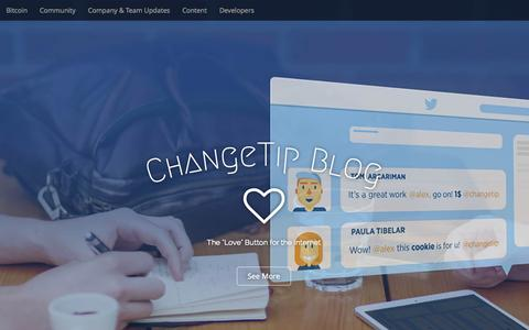 "Screenshot of Blog changetip.com - ChangeTip Blog - The ""Love"" Button for the Internet - captured July 20, 2015"