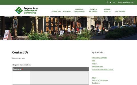 Screenshot of Contact Page eugenechamber.com - Contact Us | Eugene Area Chamber of Commerce | Eugene, OR - captured Nov. 11, 2016