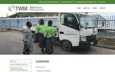 Screenshot of Jobs Page twm.com.pg - CAREERS - TWM - captured June 7, 2018