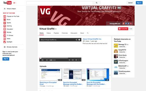 Screenshot of YouTube Page youtube.com - Virtual Graffiti  - YouTube - captured Oct. 30, 2014