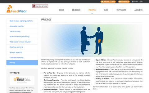 Screenshot of Pricing Page feedvisor.com - Pricing - captured Sept. 16, 2014