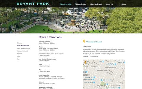 Screenshot of Hours Page bryantpark.org - Bryant Park  | Hours & Directions - captured Feb. 8, 2016