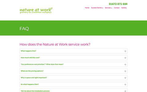 Screenshot of FAQ Page nature-at-work.co.uk - FAQ - Nature at Work - captured Oct. 18, 2018