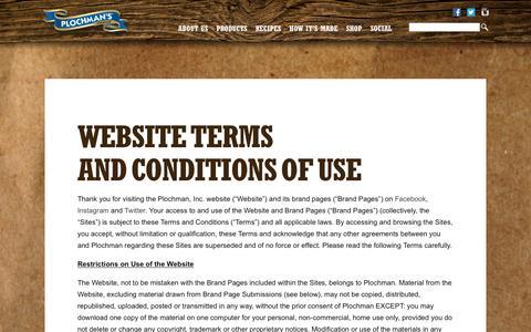 Screenshot of Terms Page plochman.com - Plochman's Mustard | Terms - captured Jan. 29, 2016