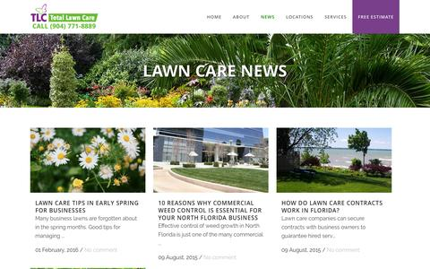 Screenshot of Press Page tlctotallawncare.com - News   TLC Total Lawn Care - captured Feb. 17, 2016