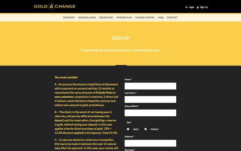 Screenshot of Signup Page gold4change.com - GOLD BAR COMPANY CONTACT   GOLD 4 CHANGE - captured Sept. 25, 2014
