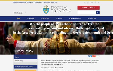 Screenshot of Privacy Page dioceseoftrenton.org - Privacy Policy - Diocese of Trenton - Lawrenceville, NJ - captured Aug. 7, 2018