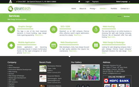 Screenshot of Services Page gleantech.com - Web Design & Development Services company chennai, India - captured Oct. 21, 2018