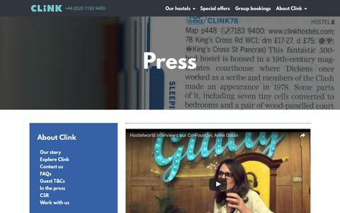 Screenshot of Press Page clinkhostels.com - Press – Clink Hostels - captured Aug. 23, 2016