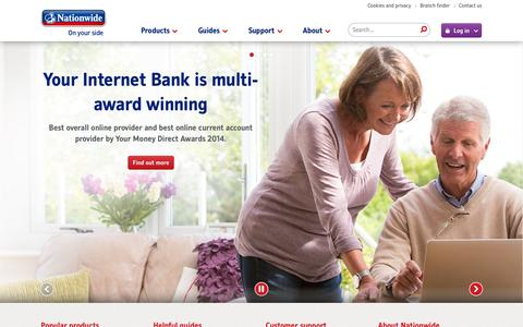 Screenshot of Home Page nationwide.co.uk - Nationwide: Savings, Mortgages, Current Accounts, Loans, Insurance - captured Sept. 18, 2014