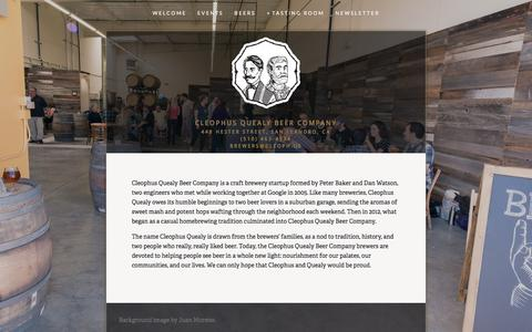 Screenshot of About Page cleoph.us - About — Cleophus Quealy Beer Company - captured Sept. 27, 2015