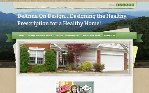 Screenshot of Contact Page deannaradaj.com - Contact Us - DeAnna On Design...Designing the Healthy Prescription for a Healthy Home! - captured Oct. 8, 2018