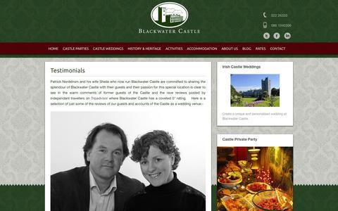 Screenshot of Testimonials Page blackwatercastle.com - Reviews of Ireland's top castle for rent   blackwatercastle - captured Sept. 30, 2014