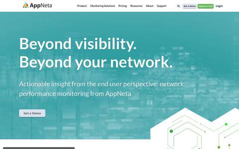 Screenshot of Home Page appneta.com - End-User Experience & Network Performance Monitoring | AppNeta - captured Sept. 20, 2018