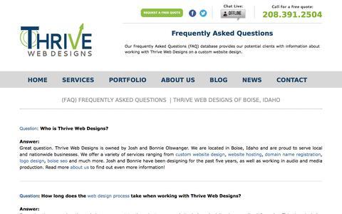 Boise Website FAQ's