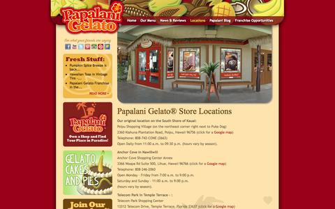 Screenshot of Locations Page papalanigelato.com - Where to find Italian Ice Cream in Hawaii | Papalani Gelato® - captured Oct. 1, 2014