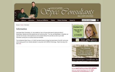 Screenshot of Services Page spec-consultants.com - Information | Spec Consultant - captured Oct. 1, 2014
