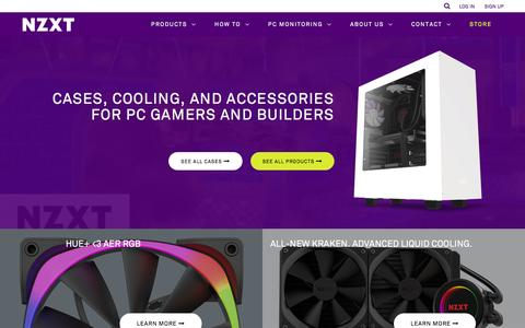 Screenshot of Home Page nzxt.com - NZXT | PC Hardware Manufacturer - Cases, Cooling, Fan Control and PC Monitoring - captured Nov. 30, 2016