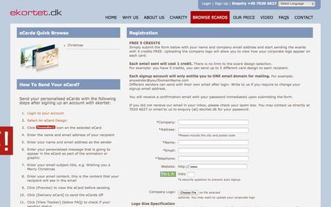Screenshot of Signup Page ekortet.dk - 2014 Christmas ecards, Greeting eCard, greeting cards online, Denmark, Germany, France, Europe, UK, England, United Kindom, Italy, Spain, Sweden, e-card - captured Oct. 27, 2014