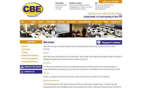 Screenshot of Services Page cbe.ie - Services for our Clients - CBE Ireland - captured Oct. 1, 2014