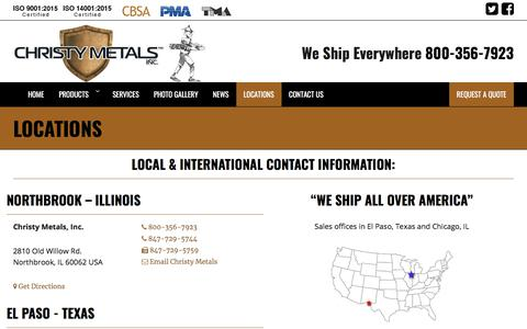 Screenshot of Locations Page christymetals.com - Locations - Christy Metals - captured July 17, 2018