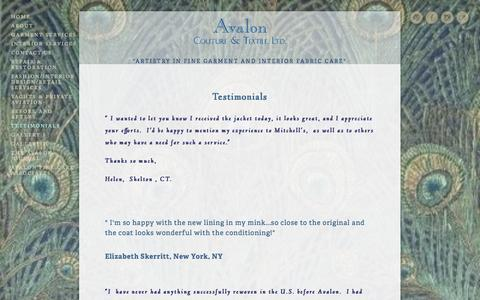 Screenshot of Testimonials Page avaloncouture.com - Testimonials — Avalon Couture & Textile, Ltd. - captured Oct. 27, 2014