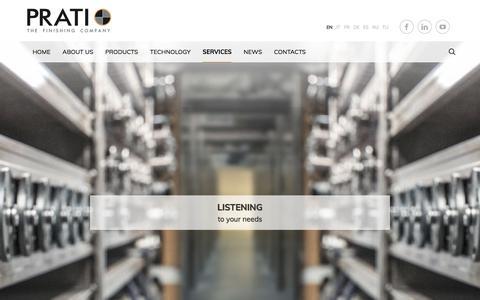 Screenshot of Services Page praticompany.com - Services - Prati - The finishing company - captured July 14, 2018