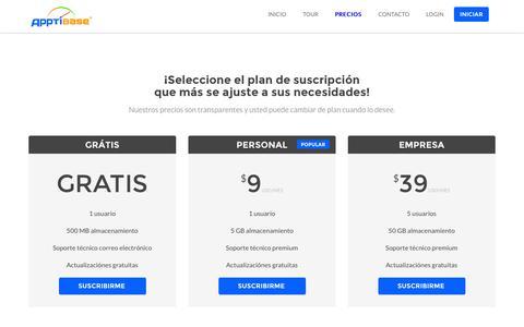 Screenshot of Pricing Page apptibase.com - Apptibase CLOUD ERP, CRM, CMS, THE BEST WEBSITE BUILDER, FREE HOSTING - captured Nov. 2, 2014
