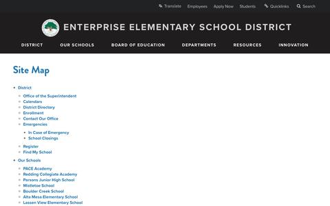 Screenshot of Site Map Page eesd.net - Site Map - Enterprise Elementary School District - captured Sept. 25, 2018