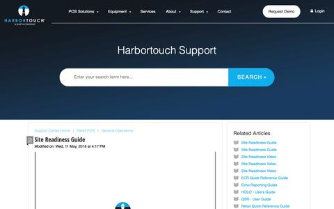 Screenshot of Support Page harbortouch.com - Site Readiness Guide : Harbortouch Support Center - captured Oct. 9, 2018