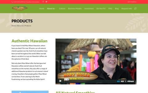 Screenshot of Products Page mauiwowifranchise.com - Products - Maui Wowi Franchise - captured Feb. 12, 2016