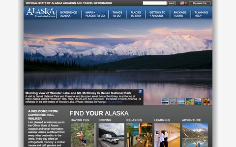 Screenshot of Home Page travelalaska.com - Travel Alaska - Official State of Alaska Travel & Vacation Information - captured Jan. 23, 2015